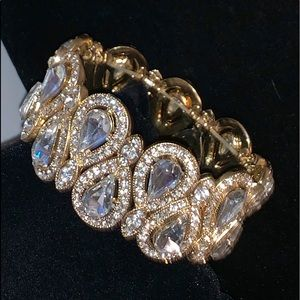 Jewelry - Rhinestone crystal cuff  bangle bracelet